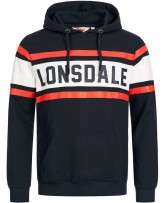 Худи мужское Lonsdale 115072 Dark Navy/Off White/Red